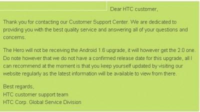 HTC aggiorna ad Android 2.0