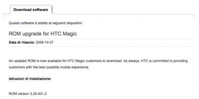 Aggiornamento HTC Magic 2.20.401.2