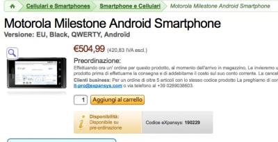 Motorola Milestone a 509€