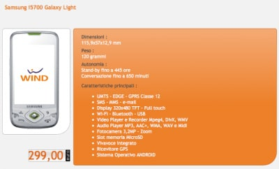 Samsung Galaxy Light con Wind