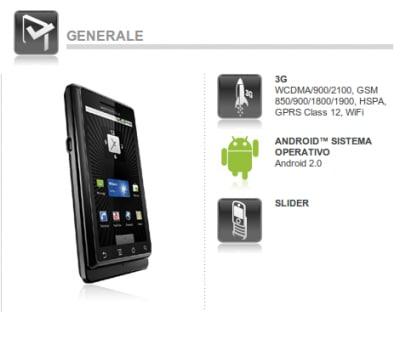 Motorola Milestone Italia