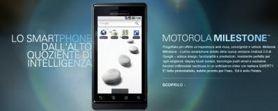 Motorola Milestone sul sito italiano