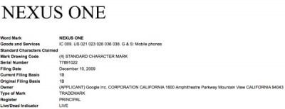 Google registra Nexus One