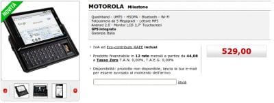 Motorola Milestone sul sito MediaWorld