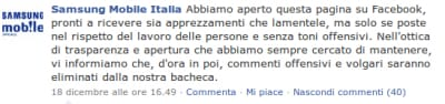 Samsung Italia su Facebook