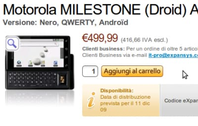 Motorola Milestone in ritardo