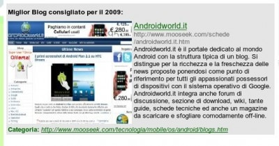 Mooseek: AndroidWorld.it blog dell'anno 2009