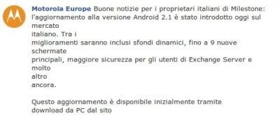 Android 2.1 ufficial per Milestone