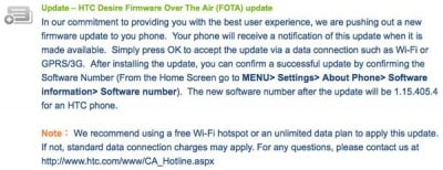 HTC Desire firmware update