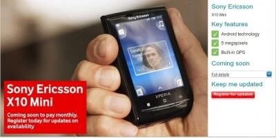 Sony Ericsson Xperia X10 Mini con Vodafone