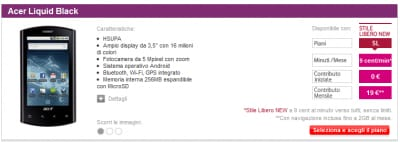 Acer Liquid E listino Vodafone