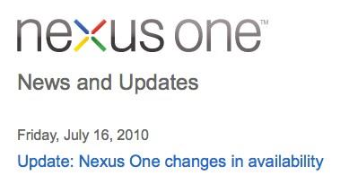 Fine vendita Nexus One online
