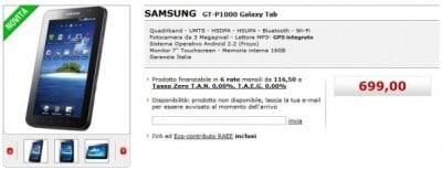 Galaxy Tab sul sito MediaWorld