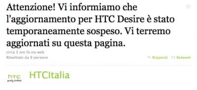 Aggiornamento HTC Desire sospeso