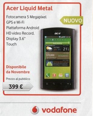 Acer Liquid Metal con Vodafone