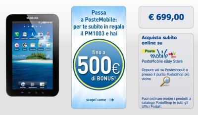 Samsung Galaxy Tab con PosteMobile