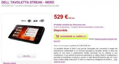 Dell Streak in Italia