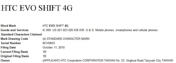 evo shift 4g trademark