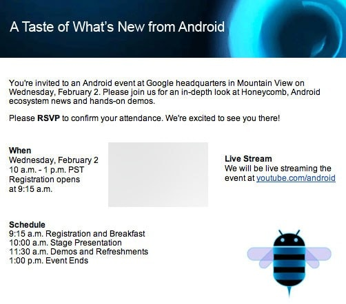 android honeycomb event