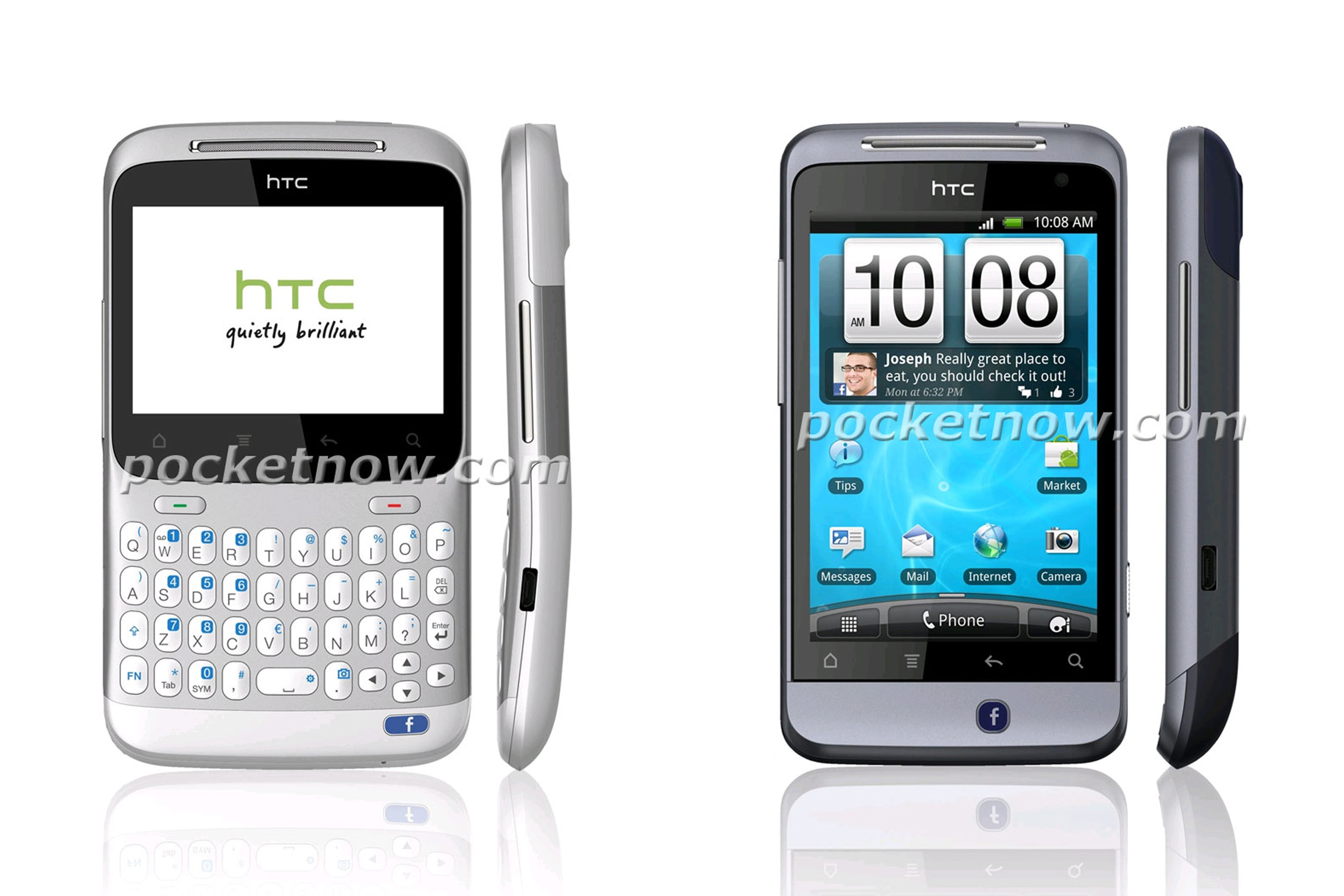 HTC Snap2 e Icon: smartphone con tasto facebook
