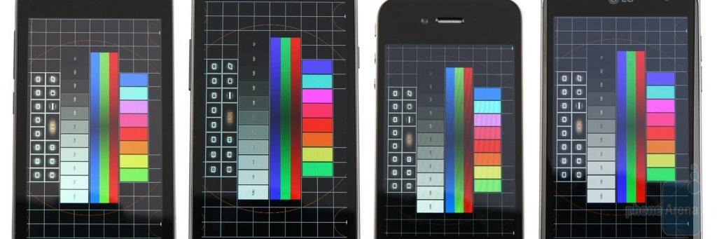 Gamma colori 1 - Da sinistra a destra: Optimus Black, Galaxy S II, iPhone 4, Optimus Dual