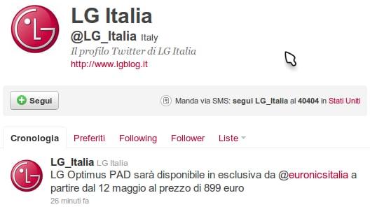 LG Optimus Pad Italia