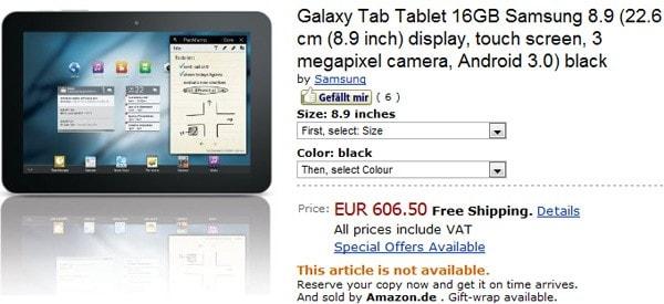 galaxy tab 8.9 prezzo germania