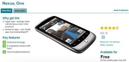 nexus_one_android vodafone UK