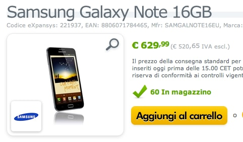 Samsung Galxay Note su Expansys