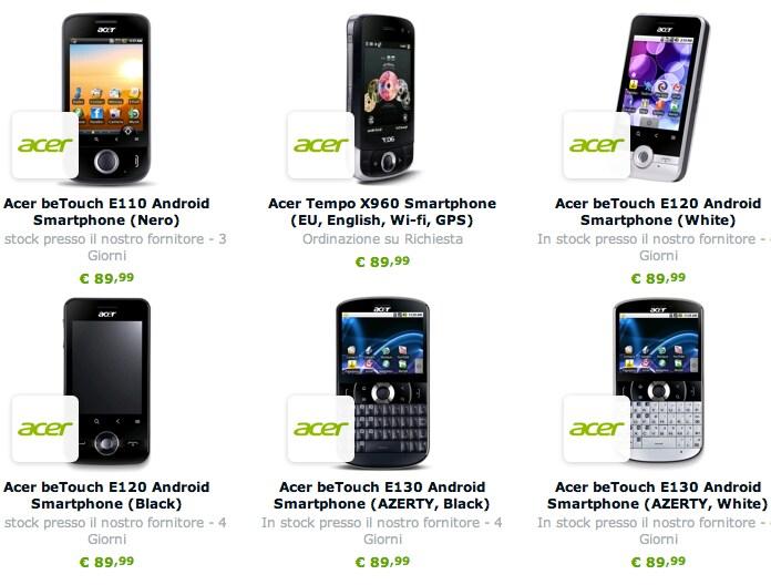 Smartphone Acer in offerta