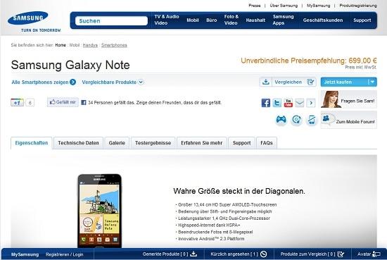 Prezzo Galaxy Note