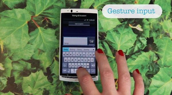 Gesture input Sony Ericsson