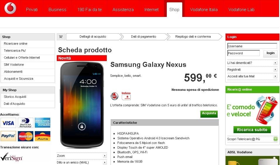 Samsung Galaxy Nexus Vodafone
