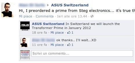 Transformer Prime in Svizzera