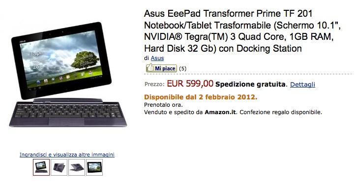 Transformer Prime su Amazon.it