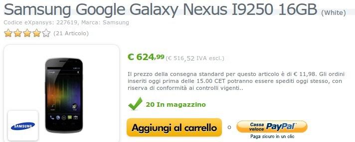 Samsung Galaxy Nexus bianco Expansys