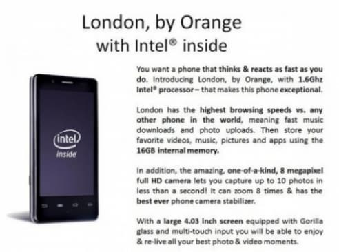 Orange Intel smartphone