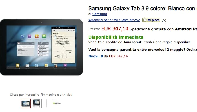 Samsung Galaxy S II bianco, Galaxy Tab 10.1 e Galaxy Tab 8.9 in offerta su Amazon