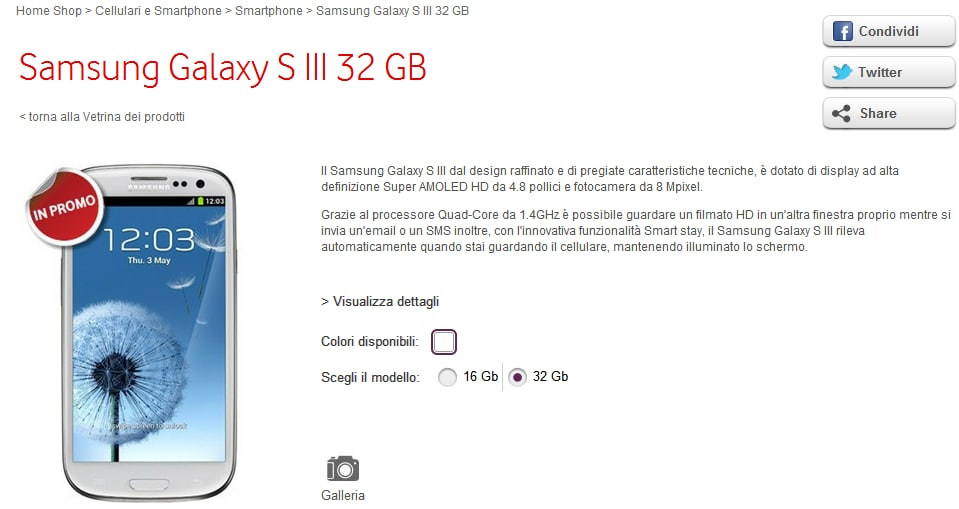 Galaxy S III 32 GB Vodafone