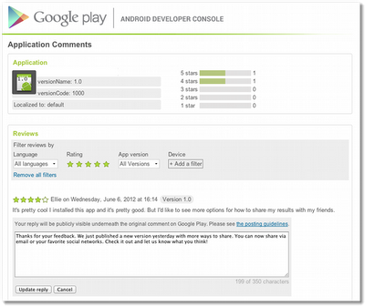 Play Store commenti