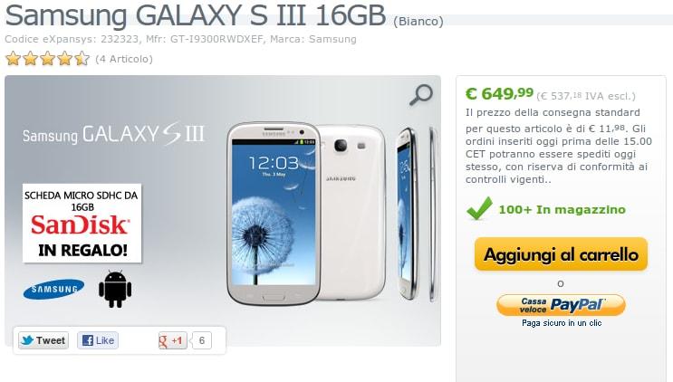 Samsung Galaxy S III disponibile su expansys