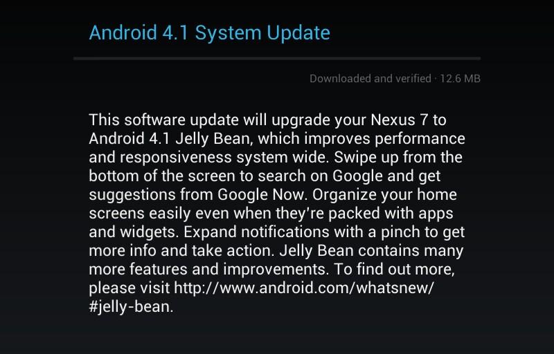 Android 4.1.1 per ASUS Nexus 7