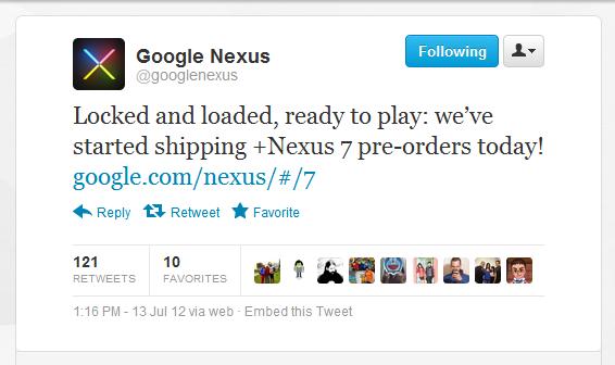 nexus 7 preordini
