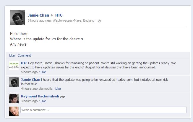 htc desire s update