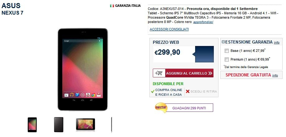 Tablet Nexus 7 Unieuro