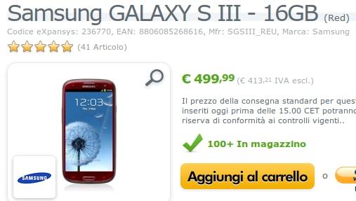 Galaxy S III rosso in offerta