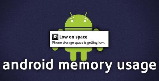 utilizzo memoria su android