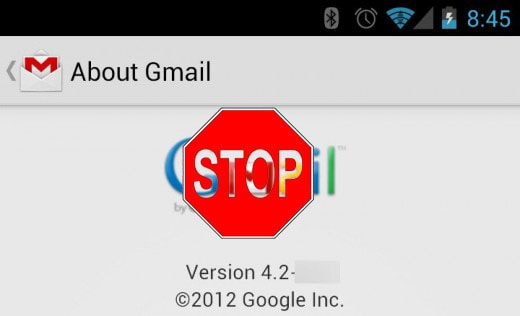 gmail 4.2 stop