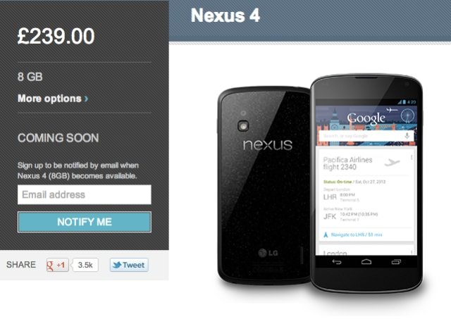 nexus 4 coming soon UK