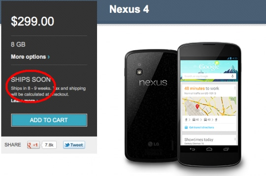 nexus 4 usa ritardo